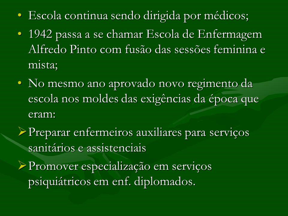 Escola continua sendo dirigida por médicos;Escola continua sendo dirigida por médicos; 1942 passa a se chamar Escola de Enfermagem Alfredo Pinto com f
