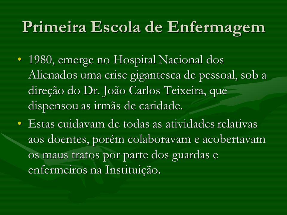 Primeira Escola de Enfermagem 1980, emerge no Hospital Nacional dos Alienados uma crise gigantesca de pessoal, sob a direção do Dr. João Carlos Teixei