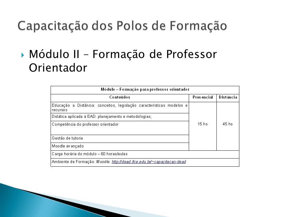 Módulo II – Formação de Professor Orientador