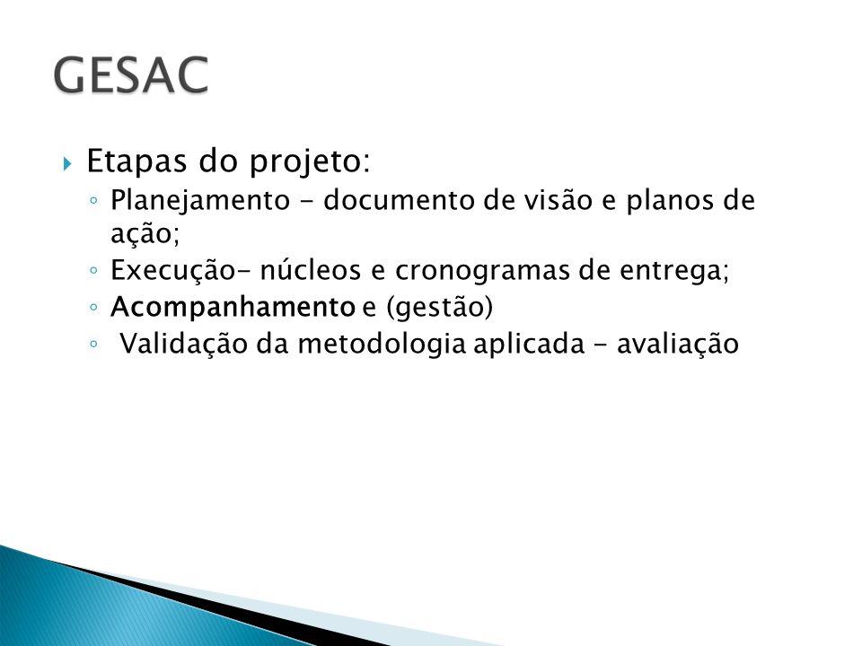 Etapas do projeto: Planejamento - documento de visão e planos de ação; Execução- núcleos e cronogramas de entrega; Acompanhamento e (gestão) Validação da metodologia aplicada - avaliação