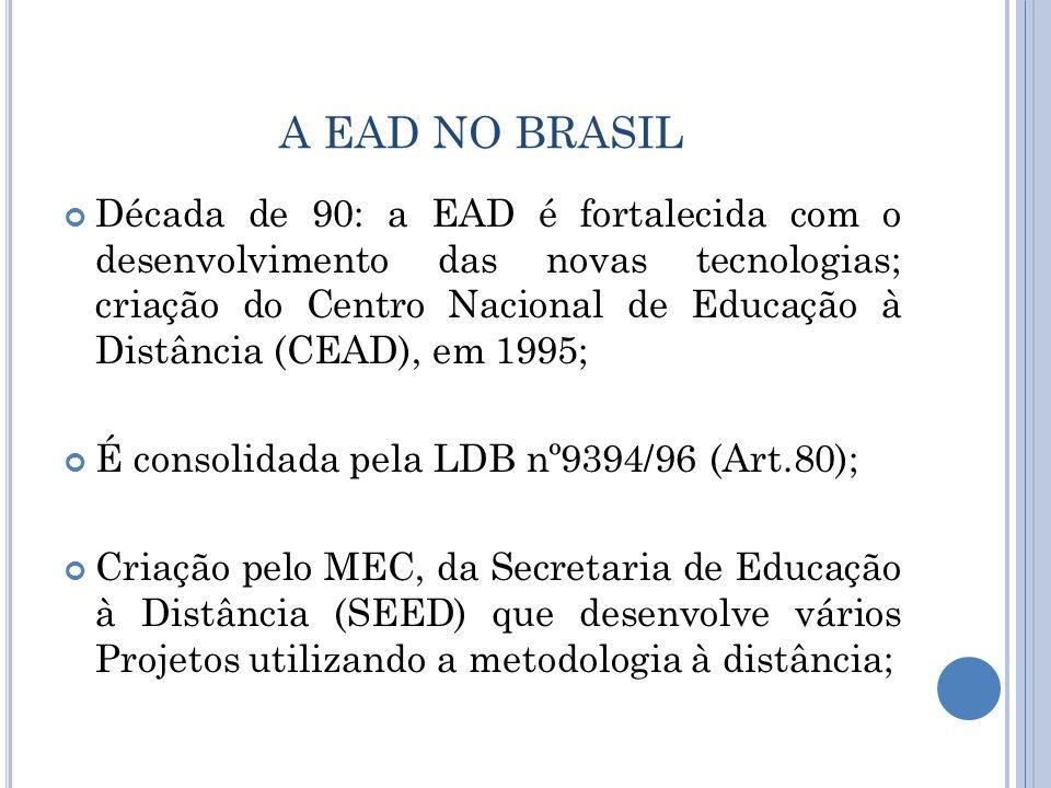 A EAD NO BRASIL Década de 90: a EAD é fortalecida com o desenvolvimento das novas tecnologias; criação do Centro Nacional de Educação à Distância (CEA