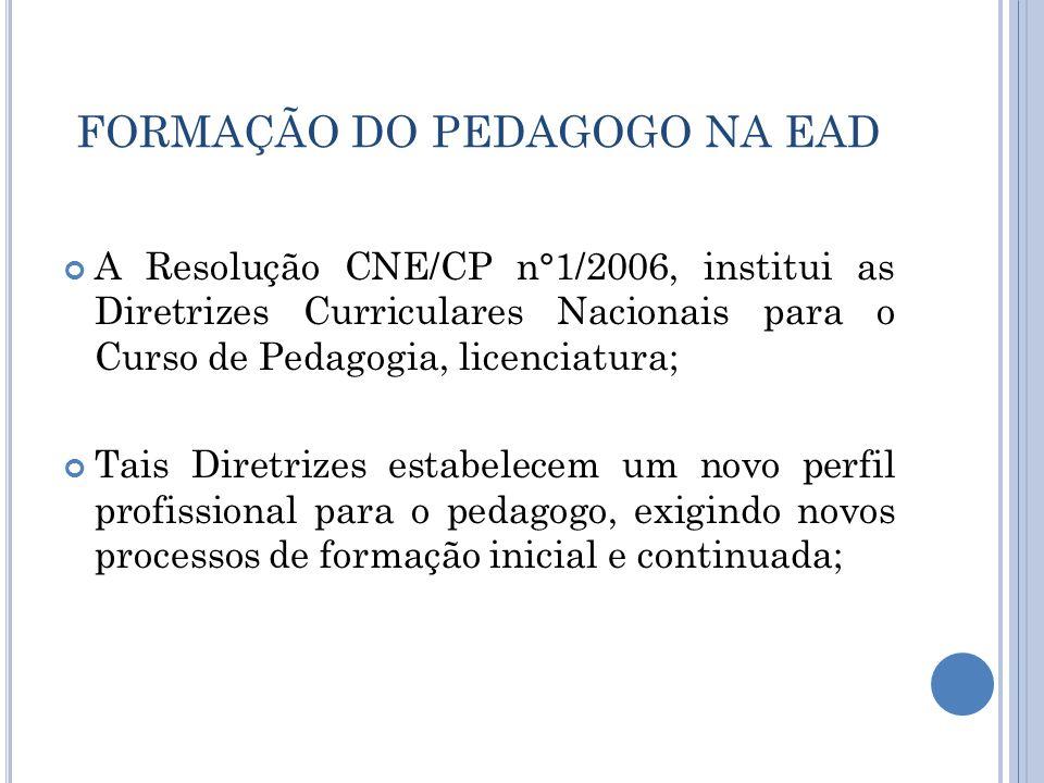 FORMAÇÃO DO PEDAGOGO NA EAD A Resolução CNE/CP n°1/2006, institui as Diretrizes Curriculares Nacionais para o Curso de Pedagogia, licenciatura; Tais D