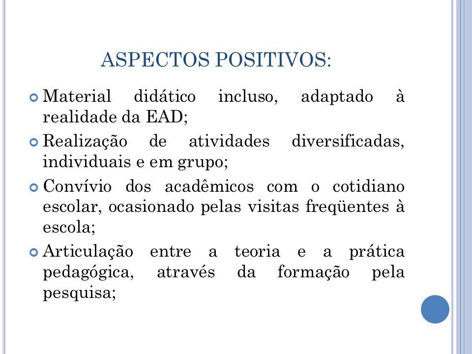 ASPECTOS POSITIVOS: Material didático incluso, adaptado à realidade da EAD; Realização de atividades diversificadas, individuais e em grupo; Convívio