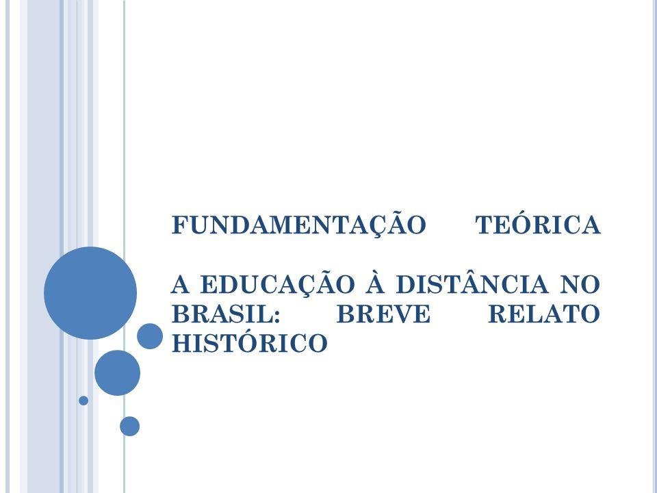 A EAD NO BRASIL Registros documentais mais remotos encontrados nos classificados do Jornal do Brasil (1891): curso profissionalizante de Datilógrafo por correspondência; Ensino via rádio a partir de 1923, com a fundação da Rádio Sociedade do Rio de Janeiro; Primeiras Instituições: Instituto Rádio Monitor (1939); Instituto Universal Brasileiro (1941);