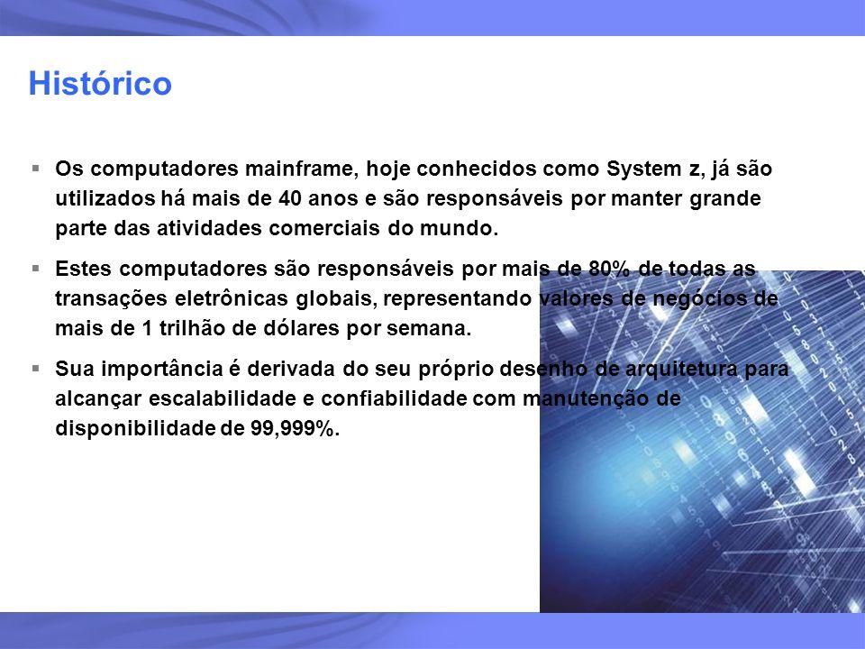 2 Histórico Os computadores mainframe, hoje conhecidos como System z, já são utilizados há mais de 40 anos e são responsáveis por manter grande parte