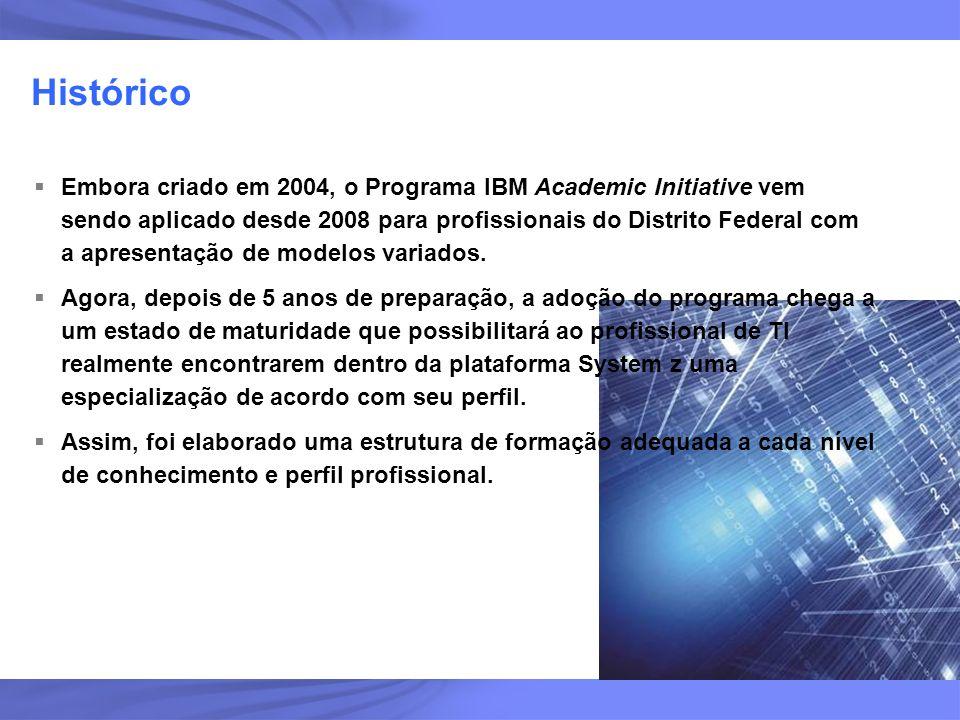 3 Histórico Embora criado em 2004, o Programa IBM Academic Initiative vem sendo aplicado desde 2008 para profissionais do Distrito Federal com a apres