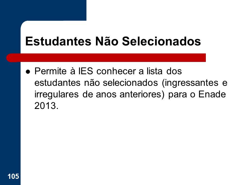 Estudantes Não Selecionados Permite à IES conhecer a lista dos estudantes não selecionados (ingressantes e irregulares de anos anteriores) para o Enad