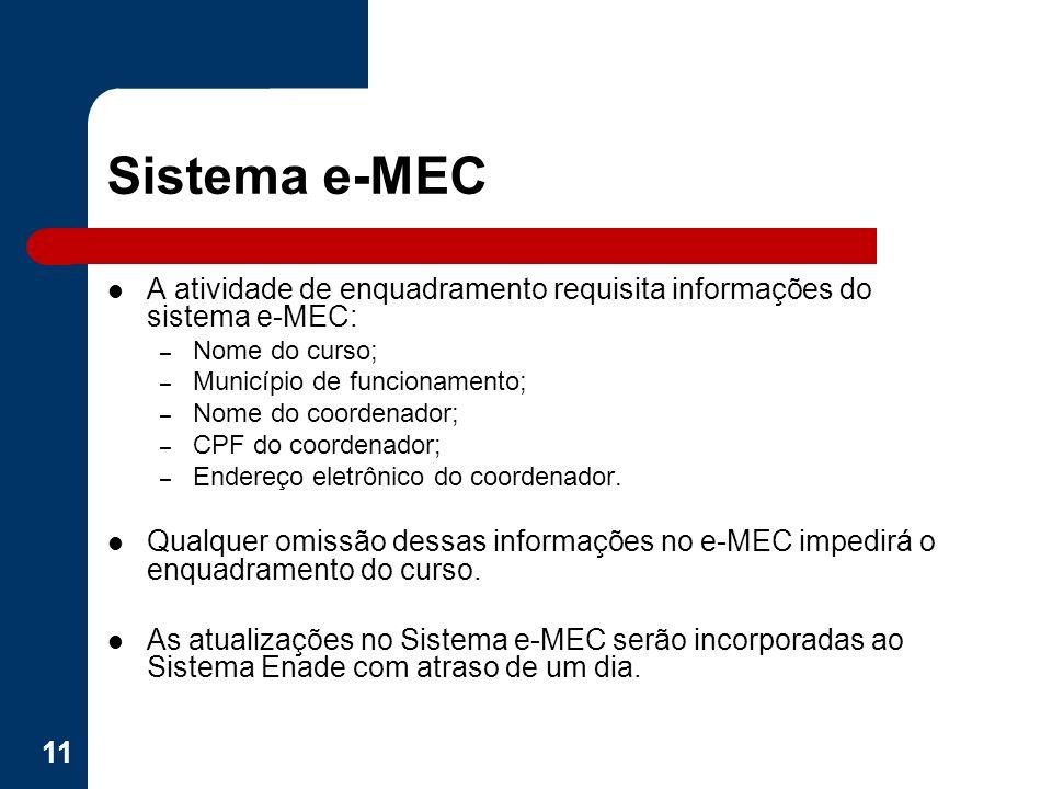 Sistema e-MEC A atividade de enquadramento requisita informações do sistema e-MEC: – Nome do curso; – Município de funcionamento; – Nome do coordenado