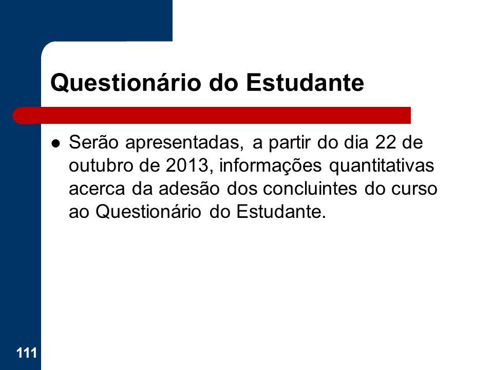 Questionário do Estudante Serão apresentadas, a partir do dia 22 de outubro de 2013, informações quantitativas acerca da adesão dos concluintes do cur