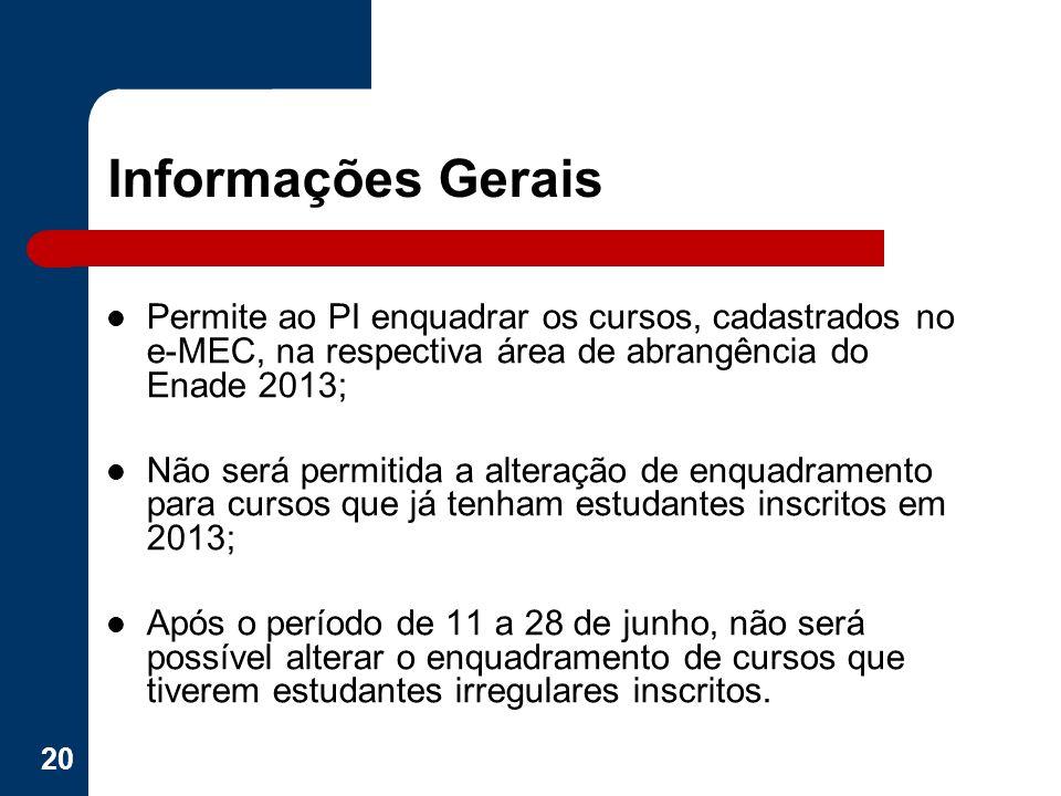 Informações Gerais Permite ao PI enquadrar os cursos, cadastrados no e-MEC, na respectiva área de abrangência do Enade 2013; Não será permitida a alte