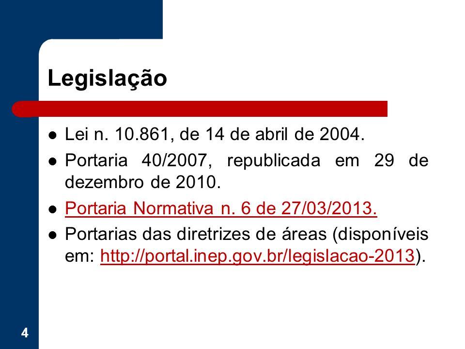 Legislação Lei n. 10.861, de 14 de abril de 2004. Portaria 40/2007, republicada em 29 de dezembro de 2010. Portaria Normativa n. 6 de 27/03/2013. Port