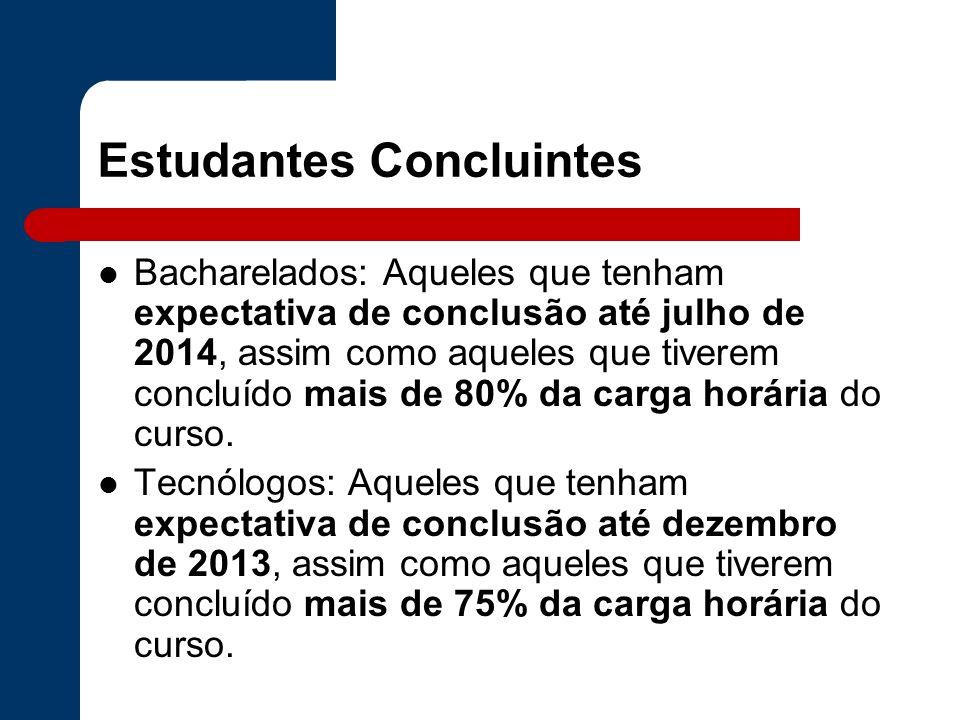 Estudantes Concluintes Bacharelados: Aqueles que tenham expectativa de conclusão até julho de 2014, assim como aqueles que tiverem concluído mais de 8
