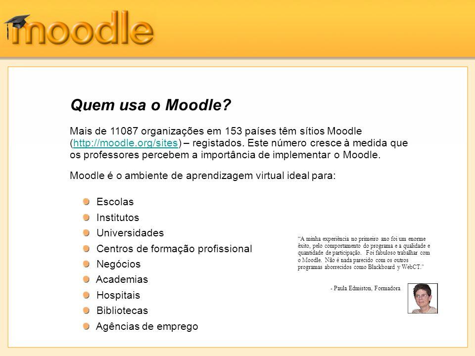 Mais de 11087 organizações em 153 países têm sítios Moodle (http://moodle.org/sites) – registados.
