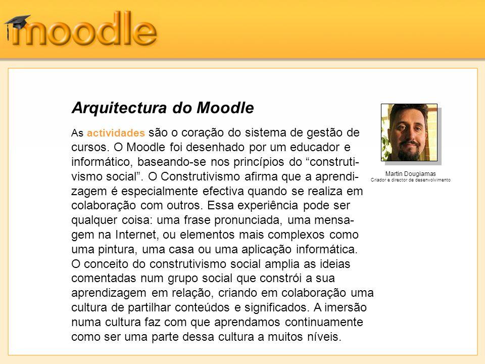 Arquitectura do Moodle As actividades são o coração do sistema de gestão de cursos.