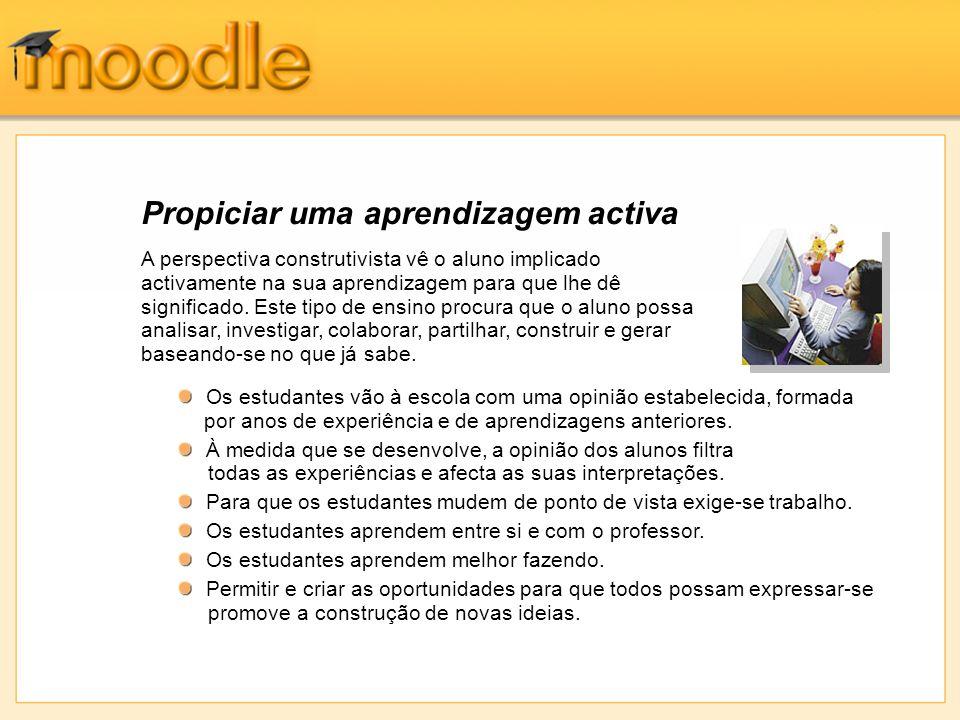 Experiência do aluno - Conexão Os alunos consideram fácil navegar nas páginas do curso de Moodle com o navegador; as hiperligações estão sempre presentes.