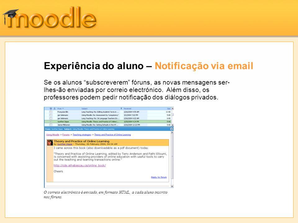 Experiência do aluno – Notificação via email O correio electrónico é enviado, em formato HTML, a cada aluno inscrito nos fóruns.