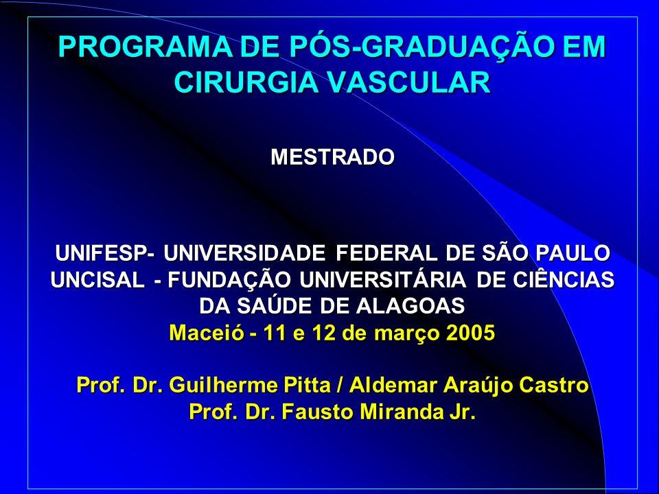 PROGRAMA DE PÓS-GRADUAÇÃO EM CIRURGIA VASCULAR MESTRADO UNIFESP- UNIVERSIDADE FEDERAL DE SÃO PAULO UNCISAL - FUNDAÇÃO UNIVERSITÁRIA DE CIÊNCIAS DA SAÚDE DE ALAGOAS Maceió - 11 e 12 de março 2005 Prof.