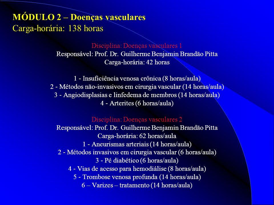 MÓDULO 2 – Doenças vasculares Carga-horária: 138 horas Disciplina: Doenças vasculares 1 Responsável: Prof.