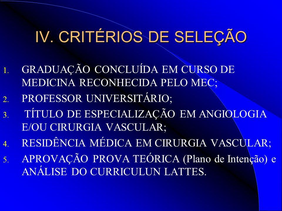 IV.CRITÉRIOS DE SELEÇÃO 1. GRADUAÇÃO CONCLUÍDA EM CURSO DE MEDICINA RECONHECIDA PELO MEC; 2.