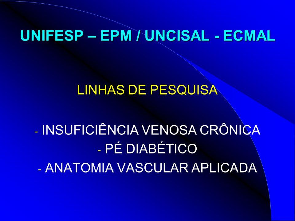 UNIFESP – EPM / UNCISAL - ECMAL LINHAS DE PESQUISA - INSUFICIÊNCIA VENOSA CRÔNICA - PÉ DIABÉTICO - ANATOMIA VASCULAR APLICADA
