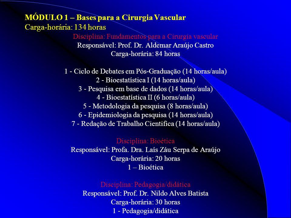 MÓDULO 1 – Bases para a Cirurgia Vascular Carga-horária: 134 horas Disciplina: Fundamentos para a Cirurgia vascular Responsável: Prof.
