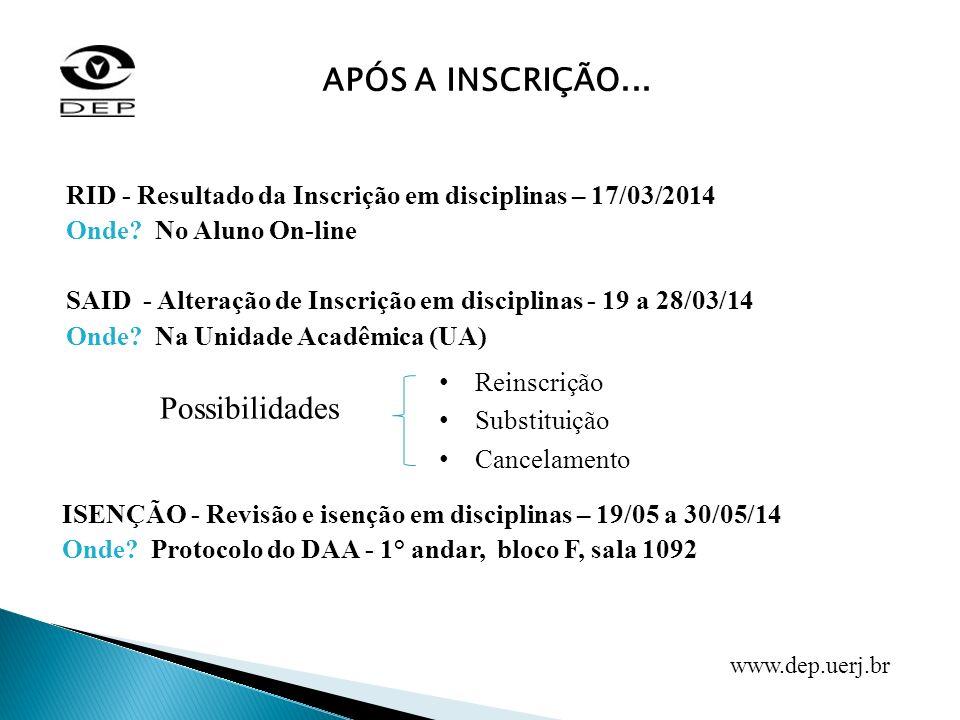 RID - Resultado da Inscrição em disciplinas – 17/03/2014 Onde? No Aluno On-line SAID - Alteração de Inscrição em disciplinas - 19 a 28/03/14 Onde? Na