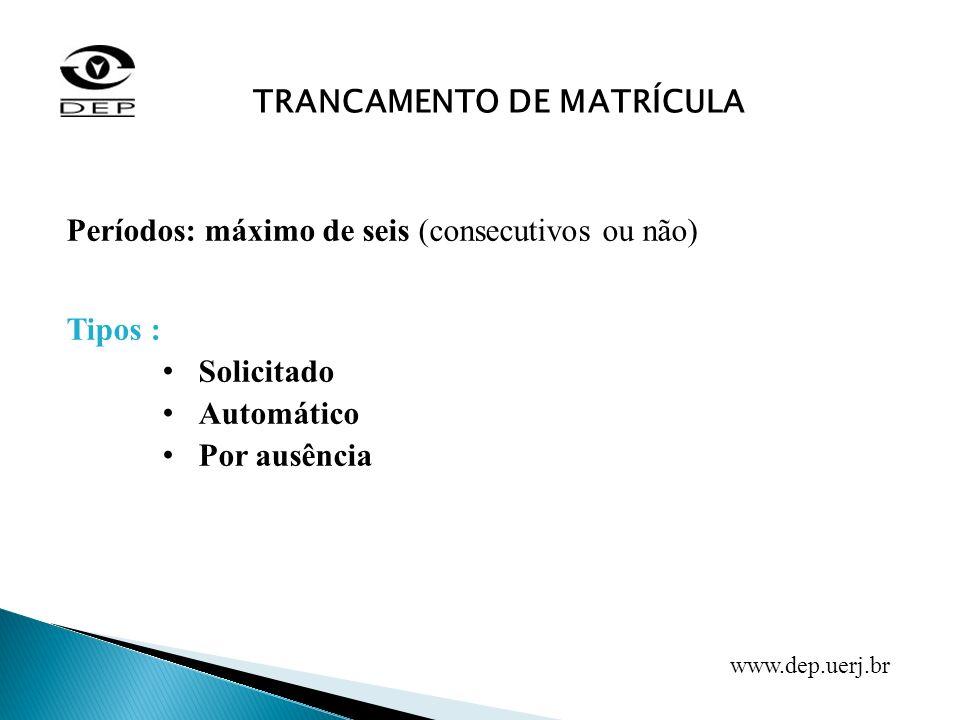 Períodos: máximo de seis (consecutivos ou não) Tipos : Solicitado Automático Por ausência TRANCAMENTO DE MATRÍCULA www.dep.uerj.br