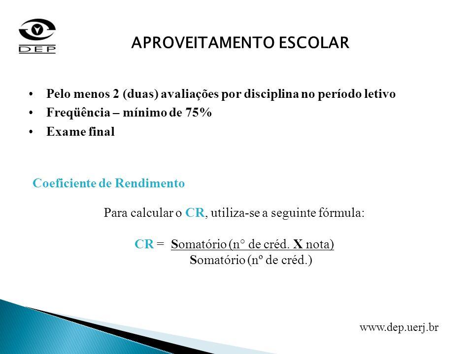 APROVEITAMENTO ESCOLAR Pelo menos 2 (duas) avaliações por disciplina no período letivo Freqüência – mínimo de 75% Exame final Coeficiente de Rendiment