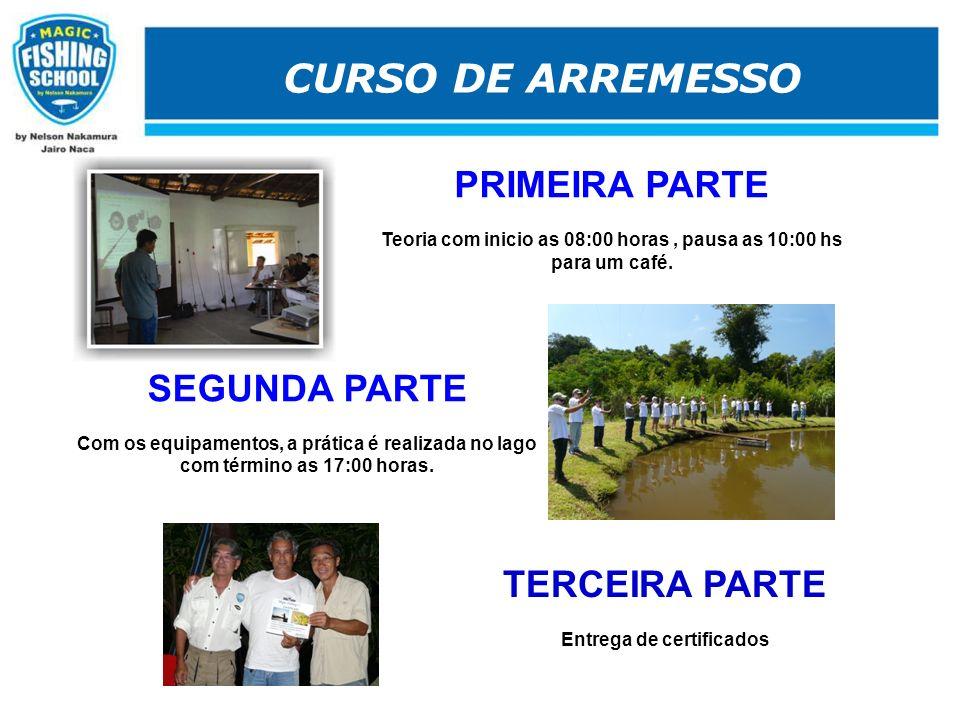 CURSO DE ARREMESSO. TERCEIRA PARTE Entrega de certificados PRIMEIRA PARTE Teoria com inicio as 08:00 horas, pausa as 10:00 hs para um café.. SEGUNDA P