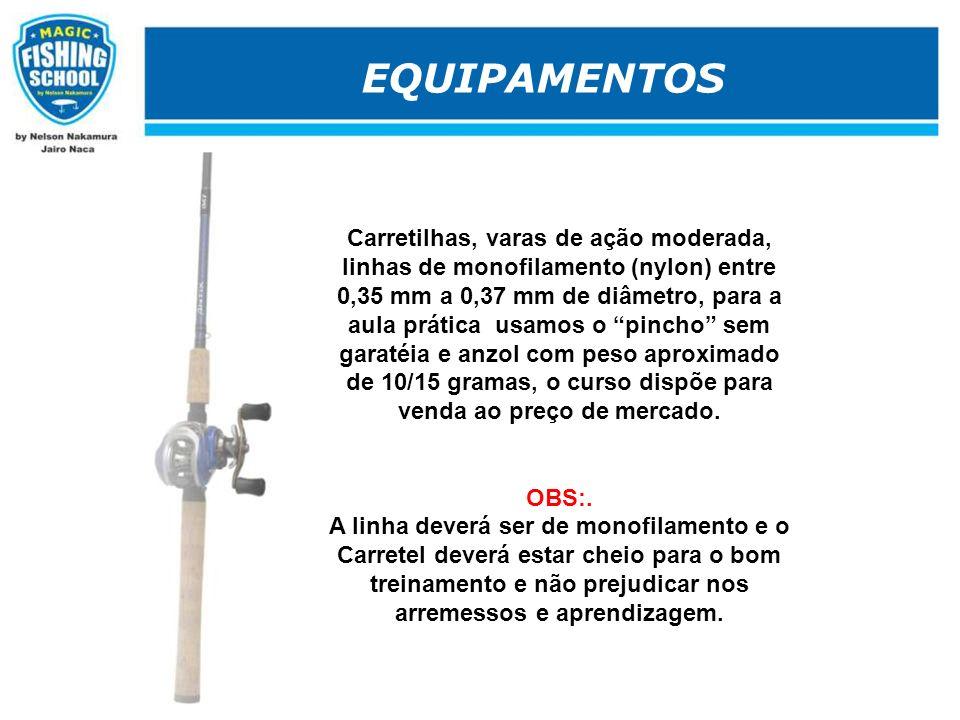 EQUIPAMENTOS Carretilhas, varas de ação moderada, linhas de monofilamento (nylon) entre 0,35 mm a 0,37 mm de diâmetro, para a aula prática usamos o pi