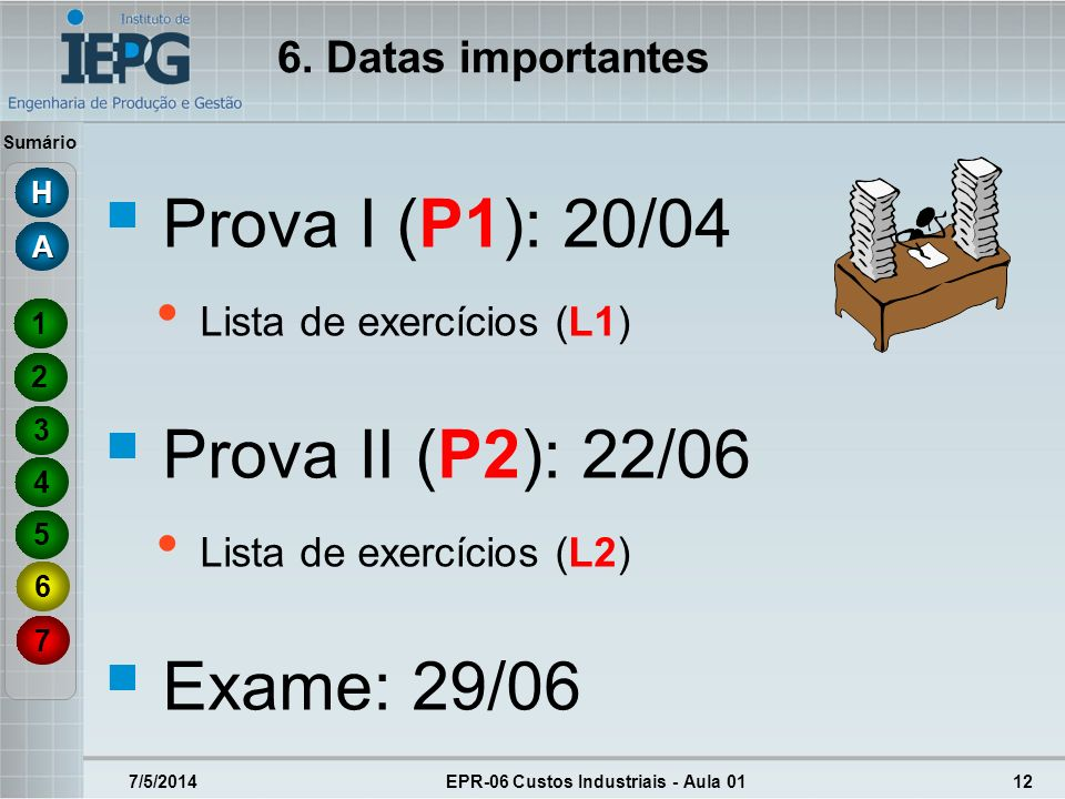 Sumário 7/5/2014EPR-06 Custos Industriais - Aula 0112 Prova I (P1): 20/04 Lista de exercícios (L1) Prova II (P2): 22/06 Lista de exercícios (L2) Exame
