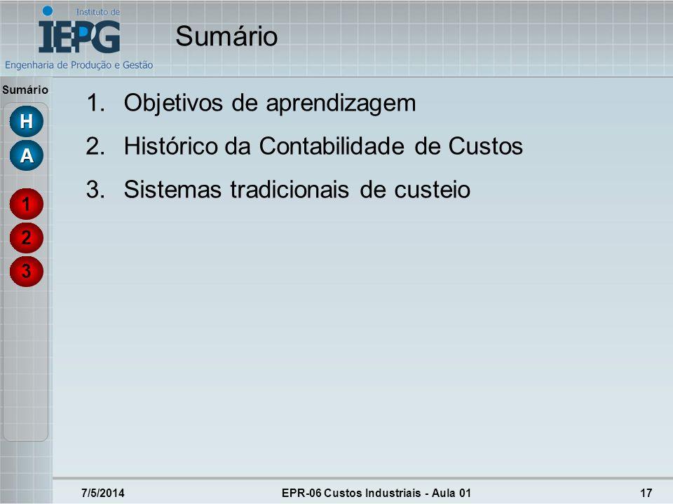 Sumário 7/5/2014EPR-06 Custos Industriais - Aula 0117 3 2 1 HHHH AAAA 1.Objetivos de aprendizagem 2.Histórico da Contabilidade de Custos 3.Sistemas tr