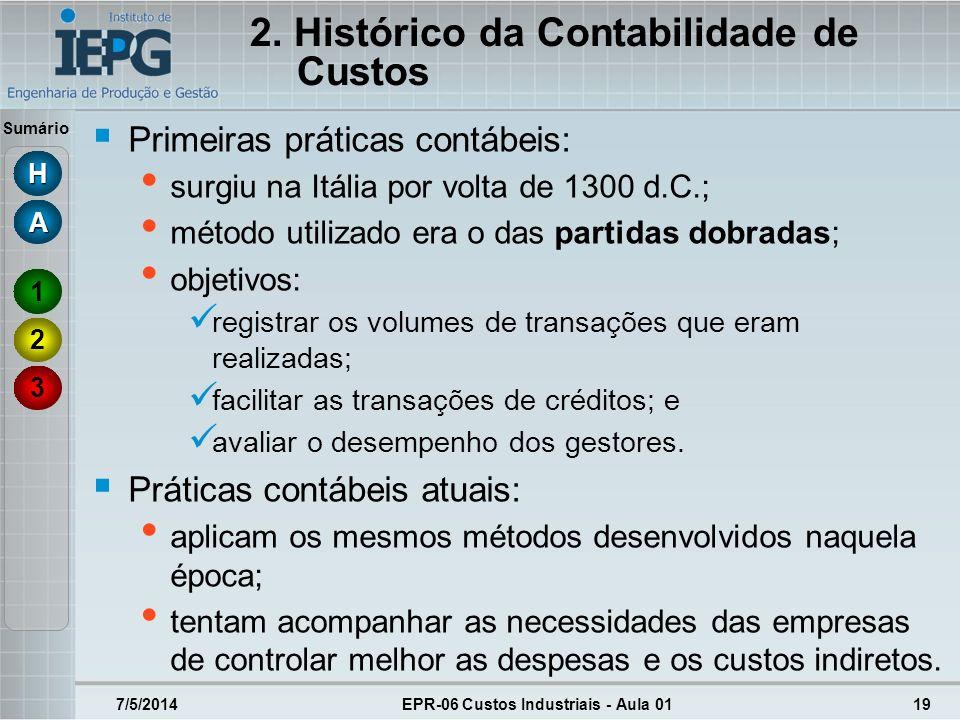 Sumário 2. Histórico da Contabilidade de Custos Primeiras práticas contábeis: surgiu na Itália por volta de 1300 d.C.; método utilizado era o das part