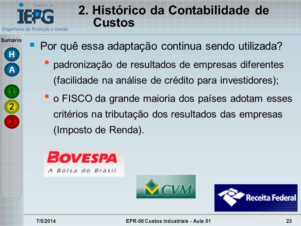 Sumário 7/5/2014EPR-06 Custos Industriais - Aula 0123 Por quê essa adaptação continua sendo utilizada? padronização de resultados de empresas diferent