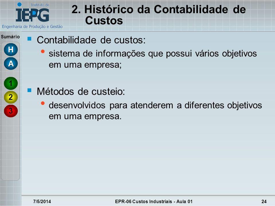 Sumário 2. Histórico da Contabilidade de Custos Contabilidade de custos: sistema de informações que possui vários objetivos em uma empresa; Métodos de
