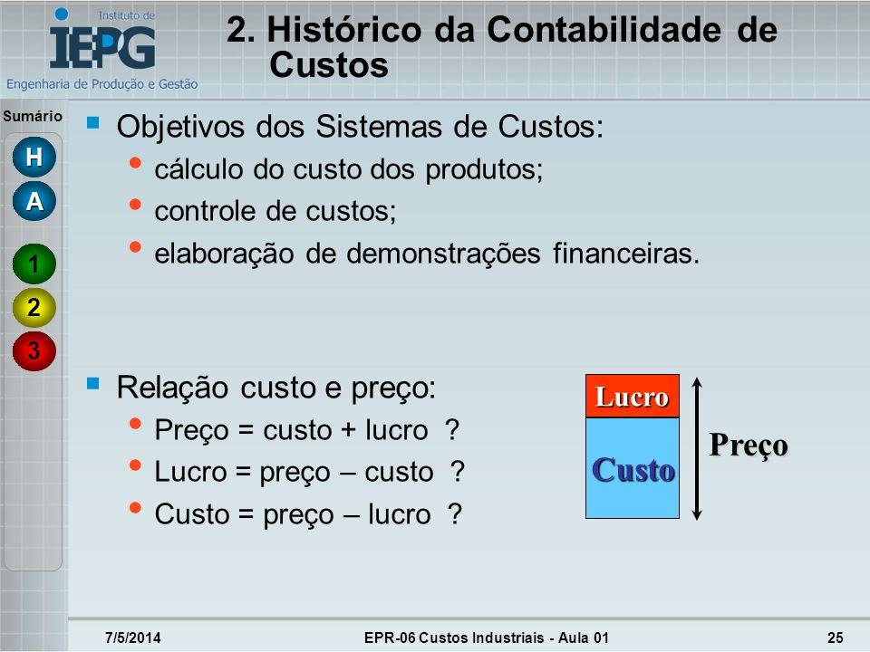 Sumário 7/5/2014EPR-06 Custos Industriais - Aula 0125 Objetivos dos Sistemas de Custos: cálculo do custo dos produtos; controle de custos; elaboração