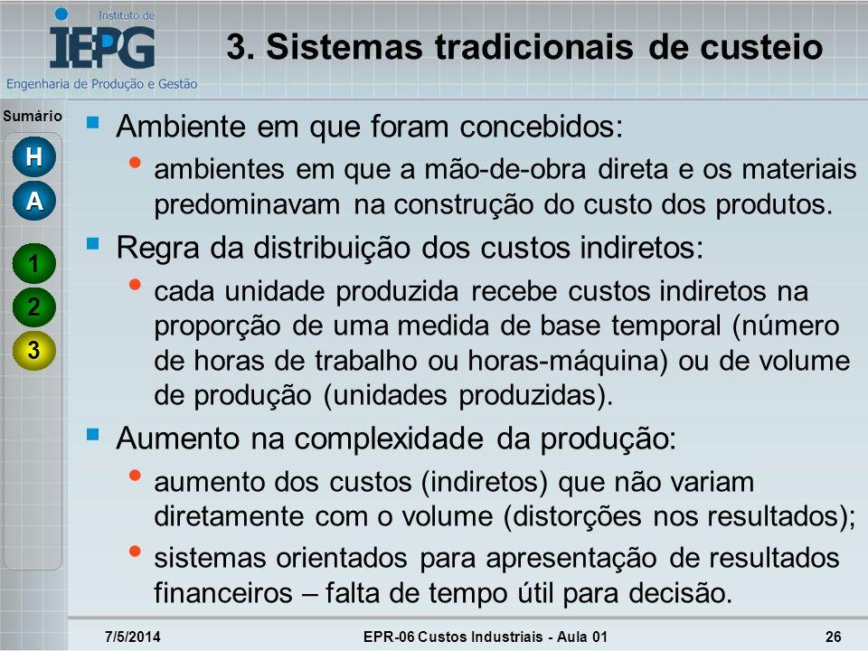 Sumário 3. Sistemas tradicionais de custeio Ambiente em que foram concebidos: ambientes em que a mão-de-obra direta e os materiais predominavam na con