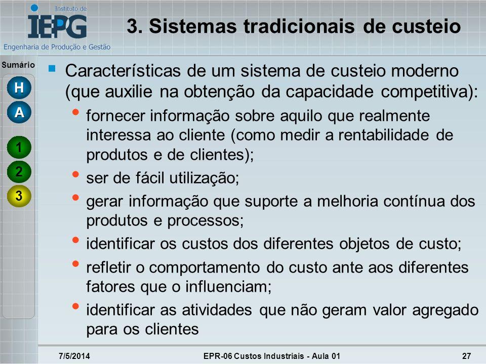 Sumário 3. Sistemas tradicionais de custeio Características de um sistema de custeio moderno (que auxilie na obtenção da capacidade competitiva): forn