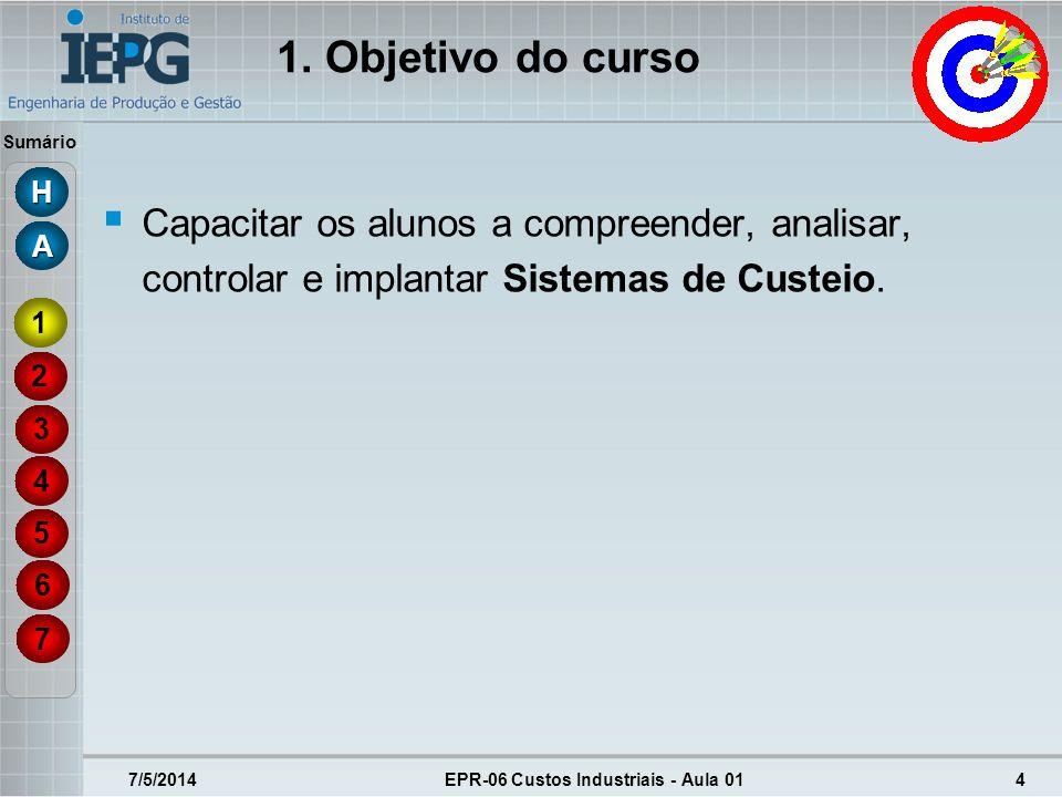 Sumário 7/5/2014EPR-06 Custos Industriais - Aula 0125 Objetivos dos Sistemas de Custos: cálculo do custo dos produtos; controle de custos; elaboração de demonstrações financeiras.