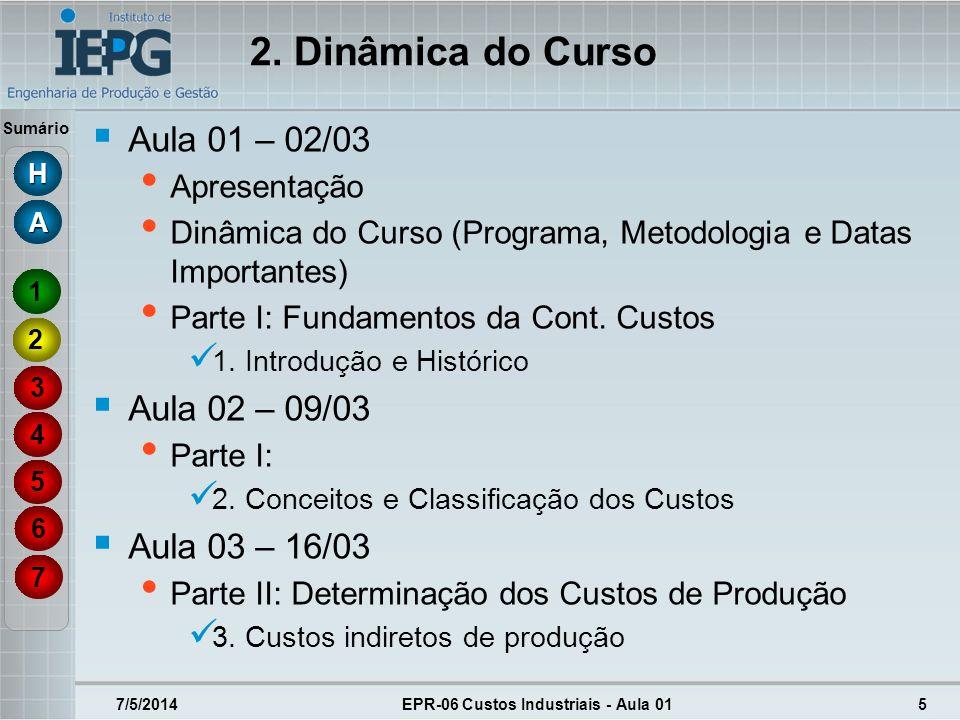 Sumário 7/5/2014EPR-06 Custos Industriais - Aula 015 2. Dinâmica do Curso Aula 01 – 02/03 Apresentação Dinâmica do Curso (Programa, Metodologia e Data