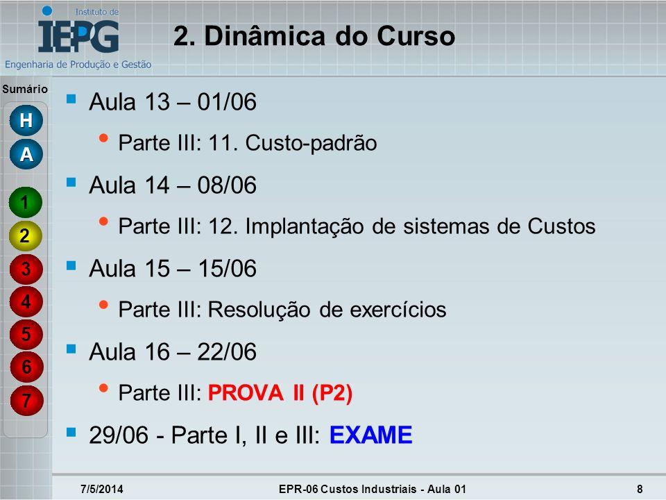 Sumário 7/5/2014EPR-06 Custos Industriais - Aula 018 2. Dinâmica do Curso Aula 13 – 01/06 Parte III: 11. Custo-padrão Aula 14 – 08/06 Parte III: 12. I