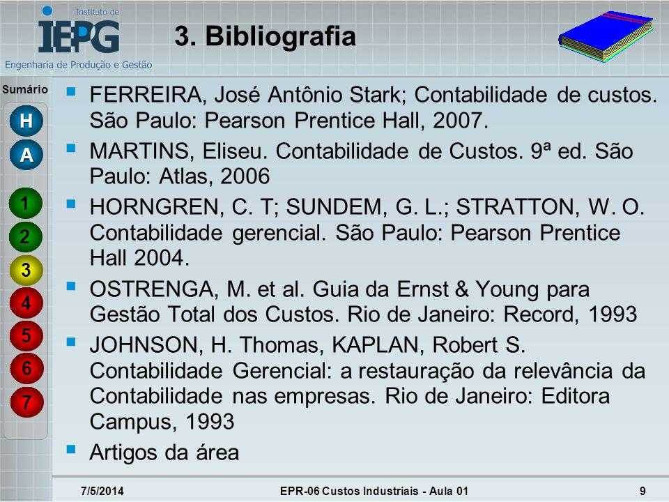 Sumário 7/5/2014EPR-06 Custos Industriais - Aula 019 FERREIRA, José Antônio Stark; Contabilidade de custos. São Paulo: Pearson Prentice Hall, 2007. MA