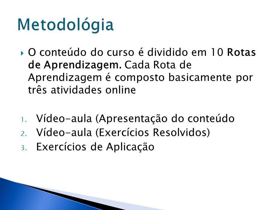O conteúdo do curso é dividido em 10 Rotas de Aprendizagem. Cada Rota de Aprendizagem é composto basicamente por três atividades online 1. Vídeo-aula