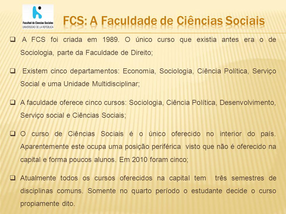 O ingresso dos estudantes na FCS, e em todos os outros cursos da Udelar, não exige concurso.