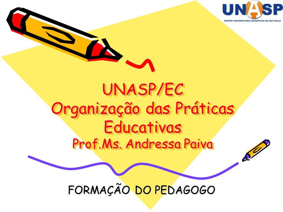 UNASP/EC Organização das Práticas Educativas Prof.Ms. Andressa Paiva FORMAÇÃO DO PEDAGOGO