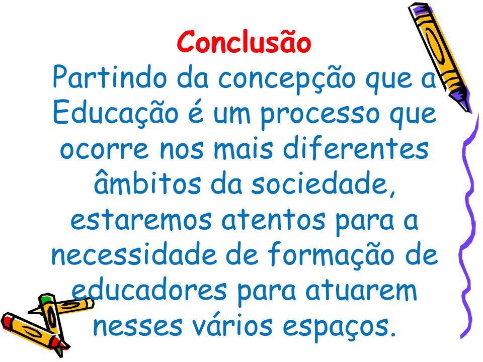 Conclusão Partindo da concepção que a Educação é um processo que ocorre nos mais diferentes âmbitos da sociedade, estaremos atentos para a necessidade