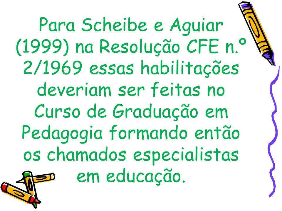 Para Scheibe e Aguiar (1999) na Resolução CFE n.º 2/1969 essas habilitações deveriam ser feitas no Curso de Graduação em Pedagogia formando então os c