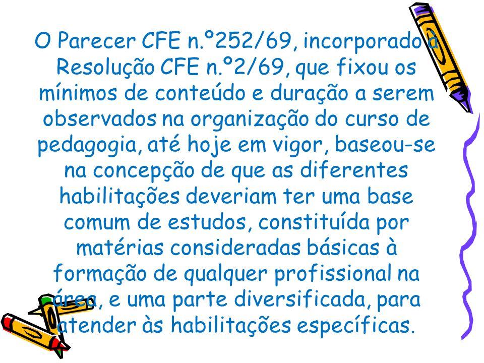 O Parecer CFE n.º252/69, incorporado à Resolução CFE n.º2/69, que fixou os mínimos de conteúdo e duração a serem observados na organização do curso de