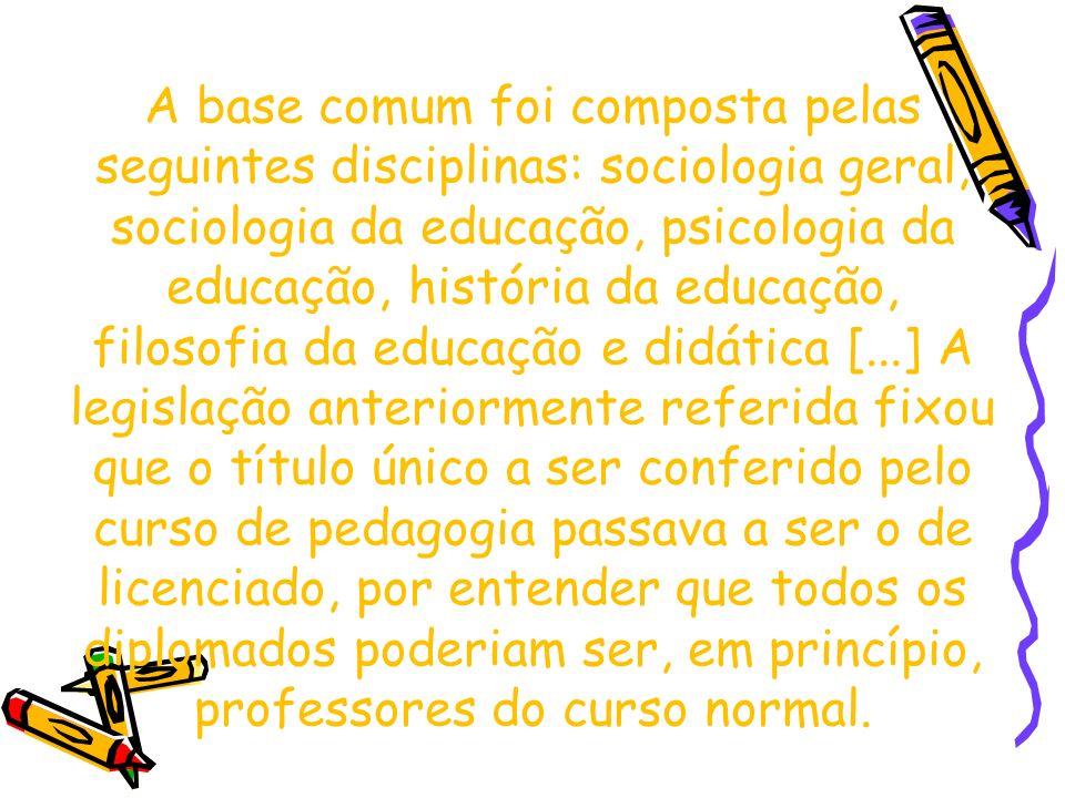 A base comum foi composta pelas seguintes disciplinas: sociologia geral, sociologia da educação, psicologia da educação, história da educação, filosof