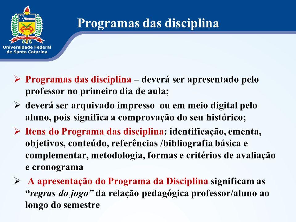 Programas das disciplina Programas das disciplina – deverá ser apresentado pelo professor no primeiro dia de aula; deverá ser arquivado impresso ou em